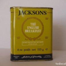 Cajas y cajitas metálicas: LATA DE TE JACKSONS OF PICCADILLY / CAPACIDAD 113 GRAMOS. Lote 112892475