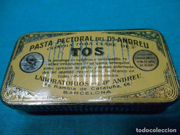 CAJITA METALICA - PASTA PECTORAL DEL DOCTOR ANDREU - TOS - DR ANDREU - BARCELONA - (Coleccionismo - Cajas y Cajitas Metálicas)