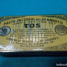 Cajas y cajitas metálicas: CAJITA METALICA - PASTA PECTORAL DEL DOCTOR ANDREU - TOS - DR ANDREU - BARCELONA -. Lote 113614107