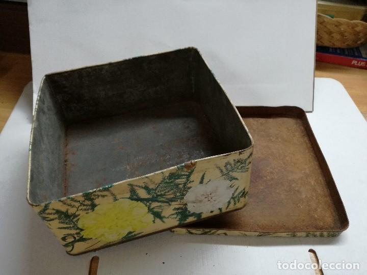 Cajas y cajitas metálicas: CAJA DE METAL LITOGRAFIADO. CLAVELES.INGLESA - Foto 5 - 113701439