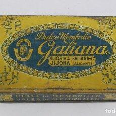Cajas y cajitas metálicas: CAJA DE HOJALATA LITOGRAFIADA CON PUBLICIDAD DE MEMBRILLO GALIANA, JIJONA, ALICANTE, MIDE 13 X 8 X 3. Lote 114773375