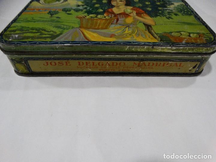 Cajas y cajitas metálicas: CAJA LITOGRAFIADA DE HOJALATA FABRICA DE DULCE Y JALEA DE MEMBRILLO - PUENTE GENIL - Foto 2 - 115599667