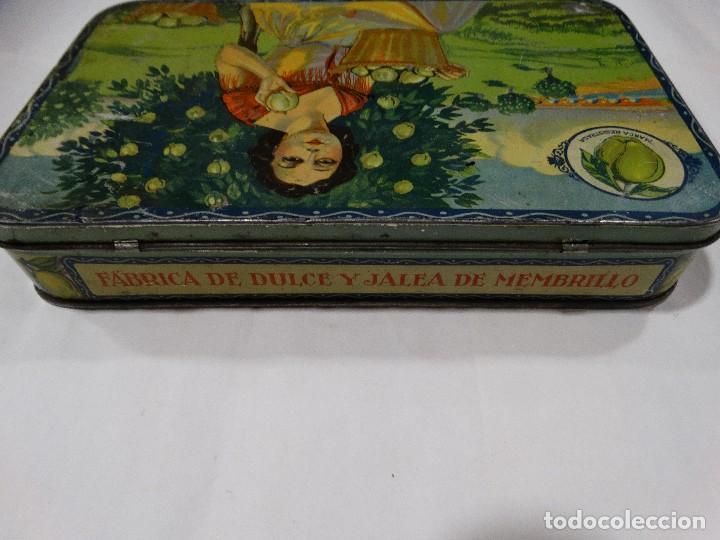 Cajas y cajitas metálicas: CAJA LITOGRAFIADA DE HOJALATA FABRICA DE DULCE Y JALEA DE MEMBRILLO - PUENTE GENIL - Foto 4 - 115599667