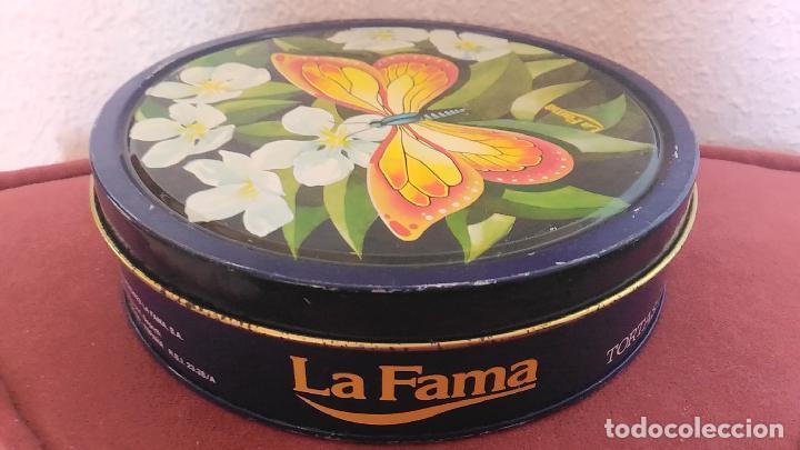 Cajas y cajitas metálicas: Caja metálica serigrafíada. Lata de Tortas Imperiales. Turrones La Fama. Flores alegrías y mariposa - Foto 3 - 117542347
