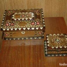 Cajas y cajitas metálicas: ANTIGUA CAJA JOYERO MADERA MARQUETERIA TARACEA Y LACADA VER FOTOS. Lote 118086443