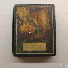 Cajas y cajitas metálicas: CAJA EXPOSICIÓN ACEITE OLIVA ESPAÑOL INTERNACIONAL BARCELONA 1930 RECETAS EN INTERIOR. ILUST. RIBAS. Lote 118527107