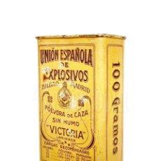 Cajas y cajitas metálicas: CAJA / LATA POLVORA VICTORIA. 100 GR. UNION ESPAÑOLA DE EXPLOSIVOS BILBAO MADRID AÑOS 50 ASTURIAS. Lote 118632147