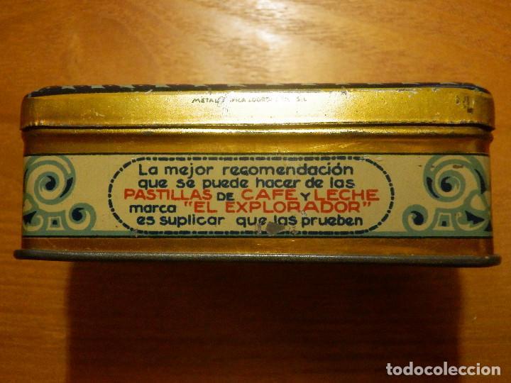 Cajas y cajitas metálicas: ANTIGUO CAJA METÁLICA - EL EXPLORADOR - PASTILLAS CAFE Y LECHE - LOGROÑO - 9,5 X 6 CM. X 3,5 CM ALTO - Foto 2 - 119584947