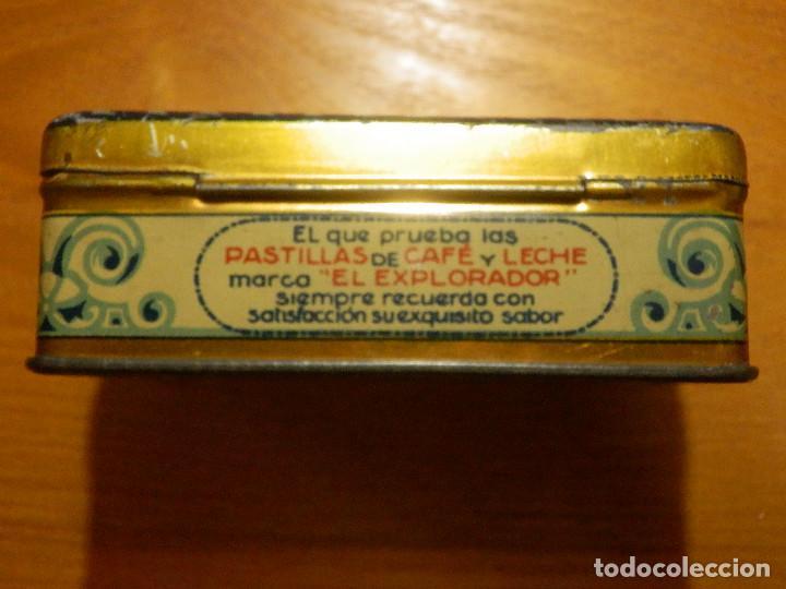 Cajas y cajitas metálicas: ANTIGUO CAJA METÁLICA - EL EXPLORADOR - PASTILLAS CAFE Y LECHE - LOGROÑO - 9,5 X 6 CM. X 3,5 CM ALTO - Foto 4 - 119584947