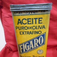 Cajas y cajitas metálicas: ANTIGUA LATA DE ACEITE DE OLIVA DE LA MARCA FIGARO BRUGIER Y TRUJILLO SEVILLA (I). Lote 120752503