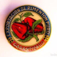 Cajas y cajitas metálicas: ESPINARDO (MURCIA).EXPORTACIÓN DE PIMENTÓN. CAJITA PARA ENVÍO DE MUESTRAS. DIÁMETRO 7 CM. ALTO 2 CM.. Lote 129030246
