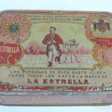 Cajas y cajitas metálicas: CAJA DE HOJALATA LITOGRAFIADA CON PUBLICIDAD DE LA ESTRELLA, CIRAGES FRANCAIS, SANTANDER, MIDE 14,5 . Lote 121728363