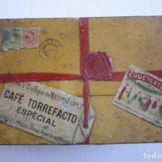 Cajas y cajitas metálicas: MATIAS LOPEZ. CHOCOLATES, DULCES Y CAFE TORREFACTO. GRAN CAJA CUYO EXTERIOR APARECE COMO UN PAQUETE.. Lote 122030927