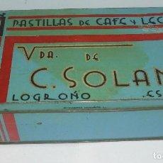 Cajas y cajitas metálicas: ANTIGUA LATA. VIUDA DE C.SOLANO. LOGROÑO. PASTILLAS DE CAFE Y LECHE. 23 X 12CM. VER FOTOS. Lote 122086715