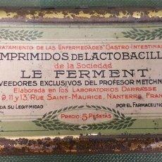 Cajas y cajitas metálicas: CAJITA METÁLICA SERIGRAFIADA. COMPRIMIDOS DE LACTOBACILLINE. 1921. . Lote 122105851