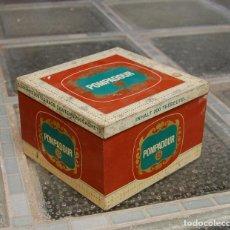 Cajas y cajitas metálicas: CAJA DE CHAPA ANTIGUA POMPADUR LITOGRAFIADA. Lote 122154443