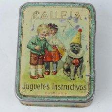 Cajas y cajitas metálicas: CAJA DE HOJALATA LITOGRAFIADA DE CUENTOS EDITORIAL SATURNINO CALLEJA, JUGUETES INSTRUCTIVOS ESTUCHE . Lote 122384163