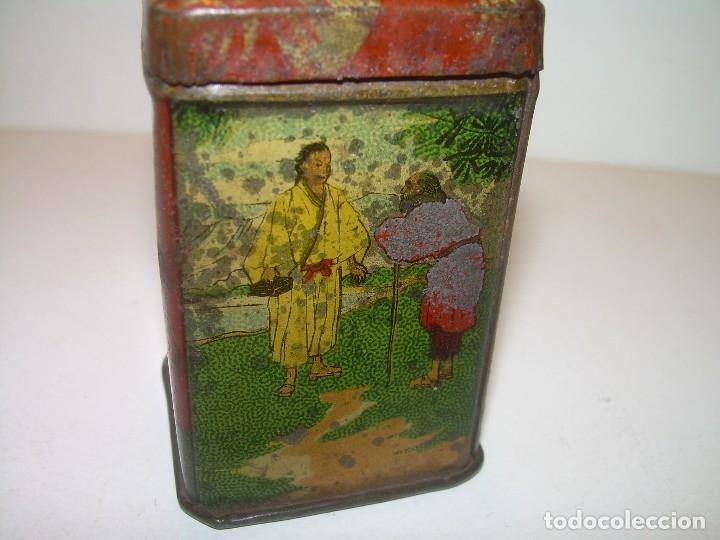 Cajas y cajitas metálicas: PEQUEÑA ANTIGUA Y BONITA CAJITA DE LATA LITOGRAFIADA.JOSE GOMEZ TEJEDOR.IMPORTADOR DE THES DE CHINA. - Foto 3 - 122987671