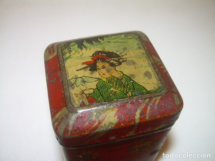 Cajas y cajitas metálicas: PEQUEÑA ANTIGUA Y BONITA CAJITA DE LATA LITOGRAFIADA.JOSE GOMEZ TEJEDOR.IMPORTADOR DE THES DE CHINA. - Foto 7 - 122987671