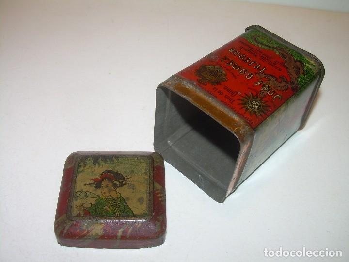 Cajas y cajitas metálicas: PEQUEÑA ANTIGUA Y BONITA CAJITA DE LATA LITOGRAFIADA.JOSE GOMEZ TEJEDOR.IMPORTADOR DE THES DE CHINA. - Foto 8 - 122987671