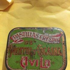 Cajas y cajitas metálicas: PASTILLAS CRESPO DE MENTOL Y COCAINA AVILA. Lote 123599559