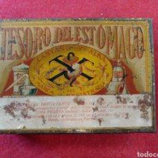 Cajas y cajitas metálicas: CAJA LITOGRAFIADA DE POLVOS ANTIGASTRALGICOS TESORO DEL ESTOMAGO - CASTAÑO Y ALBA - FARMACIA. Lote 125080292