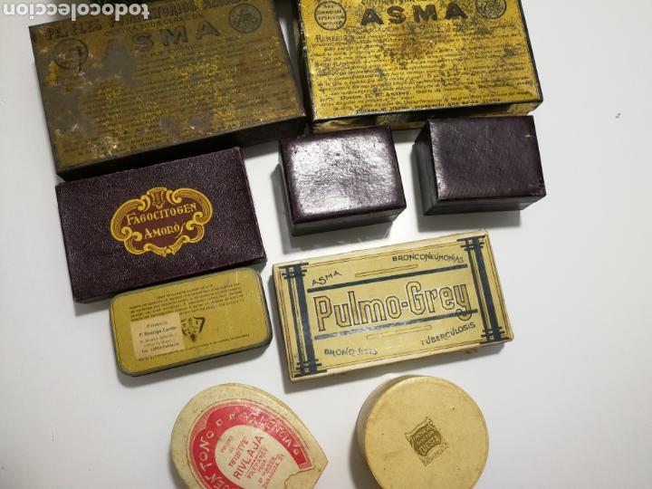 LOTE DE ANTIGUAS CAJAS DE PREPARADO FARMACEUTICO (Coleccionismo - Cajas y Cajitas Metálicas)