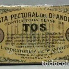 Cajas y cajitas metálicas: CAJA METALICA PASTA PECTORAL DEL DR. ANDREU CONTRA TODA CLASE DE TOS - CAJAMETALICA-355. Lote 126384663