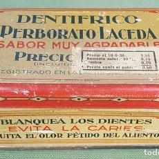 Cajas y cajitas metálicas: CAJA DE HOJALATA. DENTIFICO PERBORATO LACEDA. CIRCA 1930.. Lote 126969507