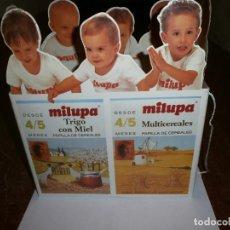 Cajas y cajitas metálicas: ANTIGUA CAJA CARTON CON ASAS MILUPA DE FARMACIA PARA PAPILLAS. Lote 234973330