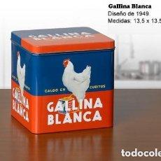 Cajas y cajitas metálicas: LATA GALLINA BLANCA 1949. EXCELENTE ESTADO. BOTE, CAJA METALICA. Lote 127978782