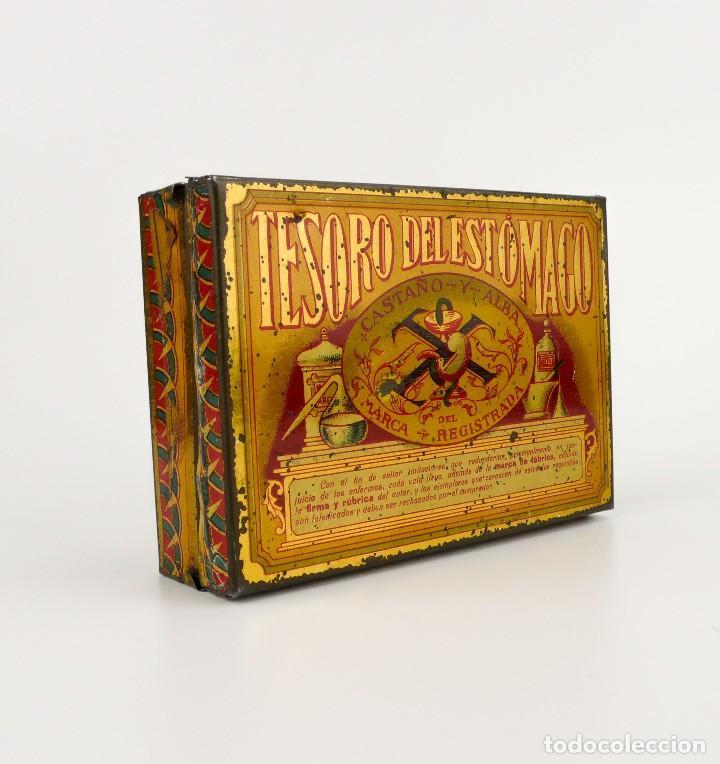 ANTIGUA CAJA METAL LITOGRAFIADO -TESORO DEL ESTÓMAGO CASTAÑO Y ALBA -FARMACIA (Coleccionismo - Cajas y Cajitas Metálicas)
