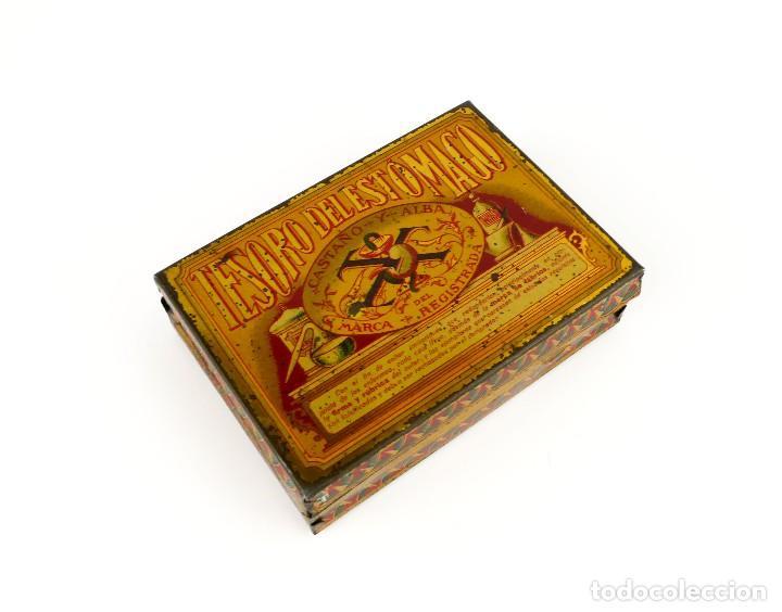 Cajas y cajitas metálicas: Antigua caja metal litografiado -Tesoro del estómago Castaño y Alba -Farmacia - Foto 3 - 128154351