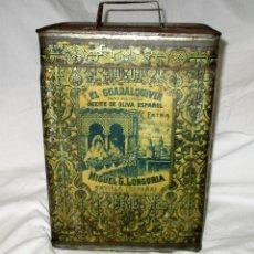 Cajas y cajitas metálicas: LATA DE ACEITE EL GUADALQUIVIR FECHADA EN SEVILLA EN 1901. MUY RARA.. Lote 128653439