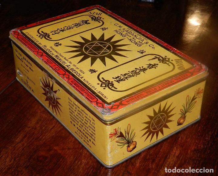 Cajas y cajitas metálicas: ANTIGUA CAJA DE HOJALATA LITOGRAFIADA CON PUBLICIDAD DE HIJOS DE MANUEL ALBEROLA de NOVELDA (ESPAÑA) - Foto 2 - 128980515