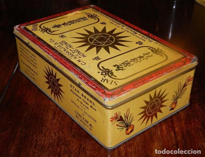 Cajas y cajitas metálicas: ANTIGUA CAJA DE HOJALATA LITOGRAFIADA CON PUBLICIDAD DE HIJOS DE MANUEL ALBEROLA de NOVELDA (ESPAÑA) - Foto 4 - 128980515
