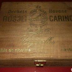 Cajas y cajitas metálicas: CAJA RÖSSLI CARINO DÉCHETS DE HAVANE DE MADERA. Lote 130077758