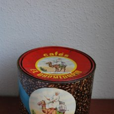 Cajas y cajitas metálicas: ANTIGUA LATA DE CAFÉS EL DROMEDARIO - SANTANDER - TAMAÑO GRANDE 2 KG.. Lote 130317606