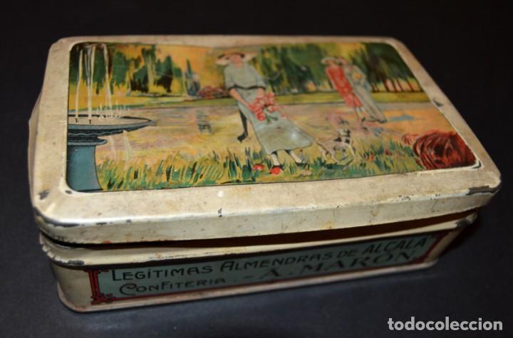 CAJA AÑOS 20 - CONFITERIA - A. MARON - ALCALA DE HENARES (Coleccionismo - Cajas y Cajitas Metálicas)
