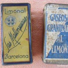 Cajas y cajitas metálicas: ANTIGUAS CAJAS METÁLICAS LIMONAL - LAS MALLORQUINAS- Y GASEOSA GRANULADA AL LIMÓN.. Lote 131128052