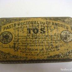 Cajas y cajitas metálicas: CAJITA DE CHAPA ANTIGUA DE PASTA PECTORAL DEL DRANDREU TOS (#). Lote 131203756