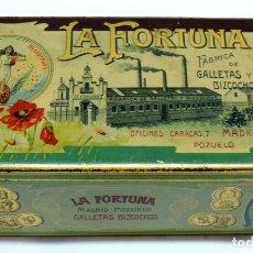 Cajas y cajitas metálicas: ANTIGUA CAJA DE HOJALATA LITOGRAFIADA CON PUBLICIDAD DE LA FORTUNA, FABRICA DE GALLETAS Y BIZCOCHOS,. Lote 131890478