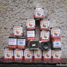 Cajas y cajitas metálicas: LOTE 18 LATAS CHAPA SERIGRAFIADA PIMENTON LA SIRENA DE NOVELDA ALICANTE 7.5CM ALTO, SIN USO PREVIO.. Lote 132168766