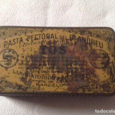Cajas y cajitas metálicas: ANTIGUA CAJA HOJALATA PASTA PECTORAL DR ANDREU. Lote 134163414