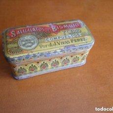 Cajas y cajitas metálicas: LATA O CAJITA EN CHAPA DE SALICILATOS DE BISMUTO Y CERIO, COMPUESTOS POR J.J. VIVAS PEREZ DE 1921.. Lote 134314490