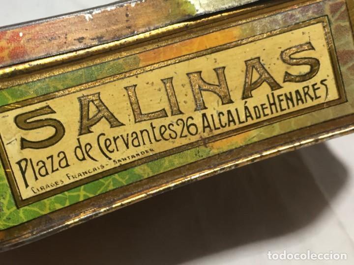 Cajas y cajitas metálicas: Caja hojalata litografiada Salinas Alcalá de Henares Imagen mujer joven rubia almendras - Foto 4 - 134317198