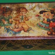Cajas y cajitas metálicas: CAJA DE MADERA CON ESPEJO - JOYERO - COSTURERO - PINOCHO. Lote 135065026