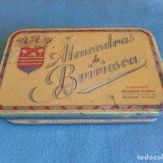 Cajas y cajitas metálicas: CAJA METÁLICA. ALMENDRAS DE BRIVIESCA. FABRICANTE, DESIDERIO ALONSO. BRIVIESCA (BURGOS). Lote 135146482