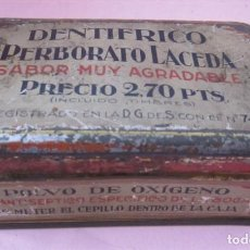 Cajas y cajitas metálicas: CAJA DENTÍFRICO PERBORATO LACEDA - CHAPA SERIGRAFÍA. Lote 135165694