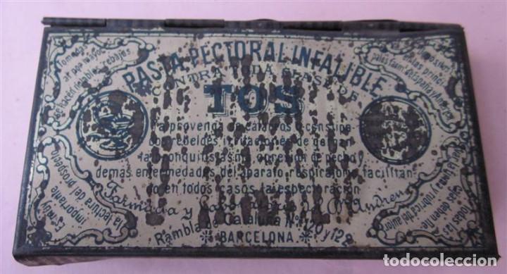 Cajas y cajitas metálicas: Caja pasta pectoral infalible contra toda clase de TOS - Con algún pequeño oxido - Foto 2 - 135167026